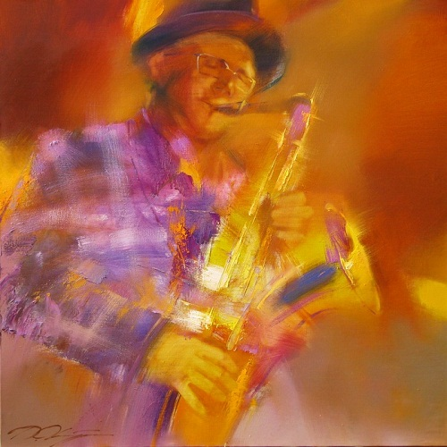 Purple and orange. Painting from the series 'Jazz' by Russian artist Denis Oktyabr