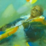 The guitar player. Painting from the series 'Jazz' by Russian artist Denis Oktyabr