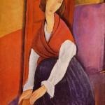 In a red shawl, portrait of Jeanne Hebuterne, 1919