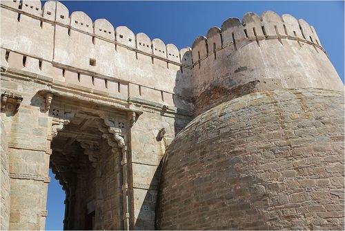 The massive gate of Kumbhalgarh fort, called the Ram Gate