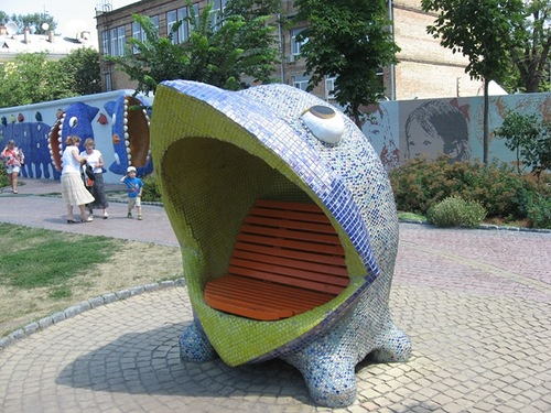 A little whale sculpture. Landscape alley urban project by sculptor Konstantin Skretutsky