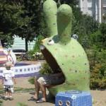 Surprised hare sculpture. Landscape alley urban project by sculptor Konstantin Skretutsky