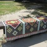 Mosaic carpet on the bench. Landscape alley urban project by sculptor Konstantin Skretutsky