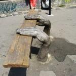 A bench with hands. Landscape alley urban project by sculptor Konstantin Skretutsky
