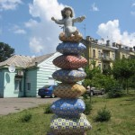 A pile of pillows. Landscape alley urban project by sculptor Konstantin Skretutsky