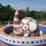 Colorful fountain. Landscape alley urban project by sculptor Konstantin Skretutsky