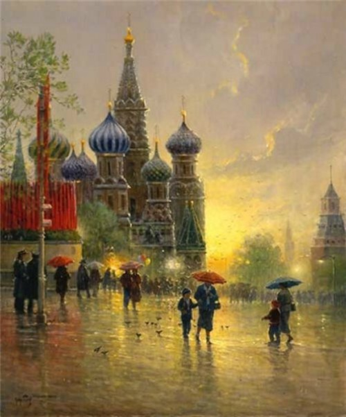 Light Rain on Red Square, 1996. Gerald Harvey Jones painting rain