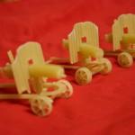 Retro guns. Macaroni sculpture by Russian creative designer Sergei Pakhomov