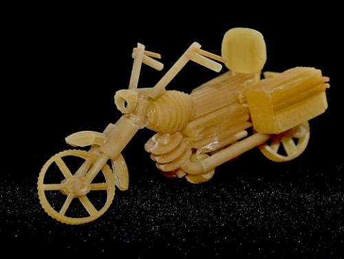 A motorbike. Macaroni sculpture by Russian creative designer Sergei Pakhomov