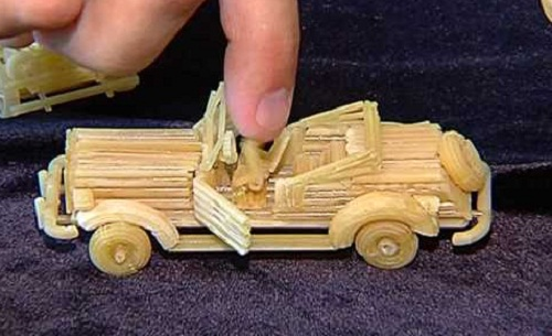 Retro automobile. Macaroni sculpture by Russian creative designer Sergei Pakhomov
