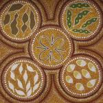 Nature inspired dot painting by Australian artist Margaret Davis Kemarre