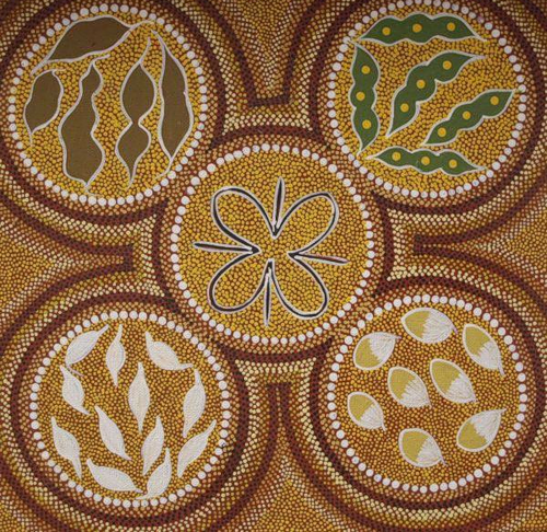 Nature inspired dot painting by Australian artist Margaret Davis Kemarre