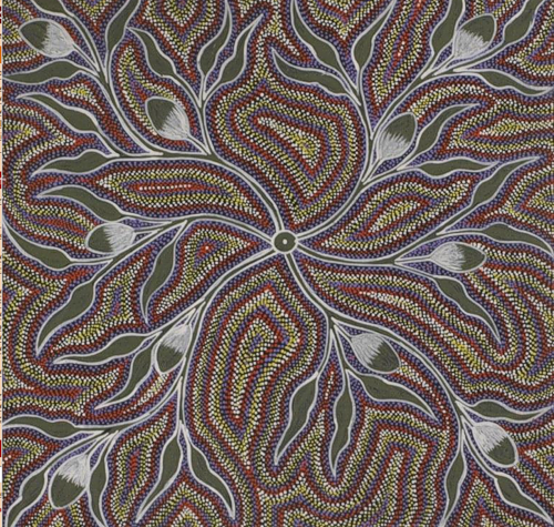 Traditional dot painting by Australian artist Margaret Davis Kemarre