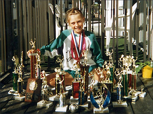 Maria Sharapova, pictured after her move to America, with her first awards on display