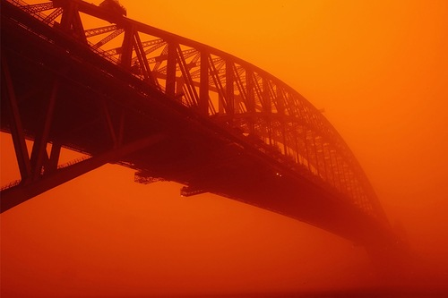Bridge in the red mist. Martian landscape caused by dust storms in Australia