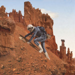Climbing Mars mountain. Photo and sculptural installation by Richard Selesnick and Nicholas Kahn. Human life on Mars