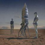 Weird construction between two humanoids. Photo sculptural installation by Richard Selesnick and Nicholas Kahn