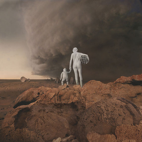 With a baby. Martian future – photo and sculptural installation by Richard Selesnick and Nicholas Kahn