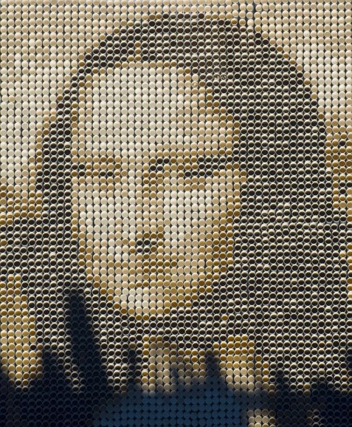 Mona Lisa of cups of coffee. The sculpture created jointly by Michael Donohue and Minh Ho