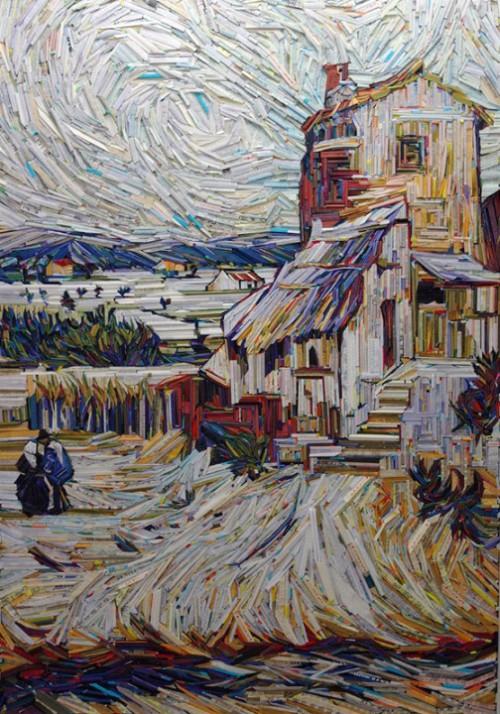 Inspired by Van Gogh. Recreation of famous paintings in wood-wrapped Newspaper Mosaics by Korean artist Lee Kyu-Hak