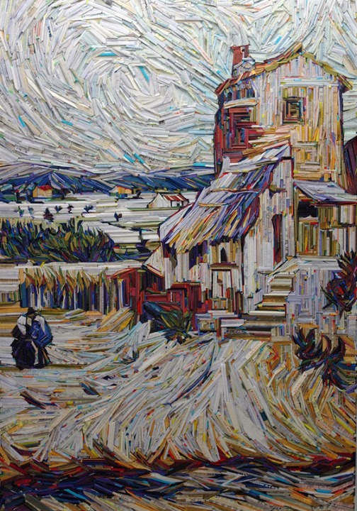 Inspired by Van Gogh. Recreation of famous paintings in wood-wrapped Newspaper Mosaics by Korean artist Lee Kyu-Hak