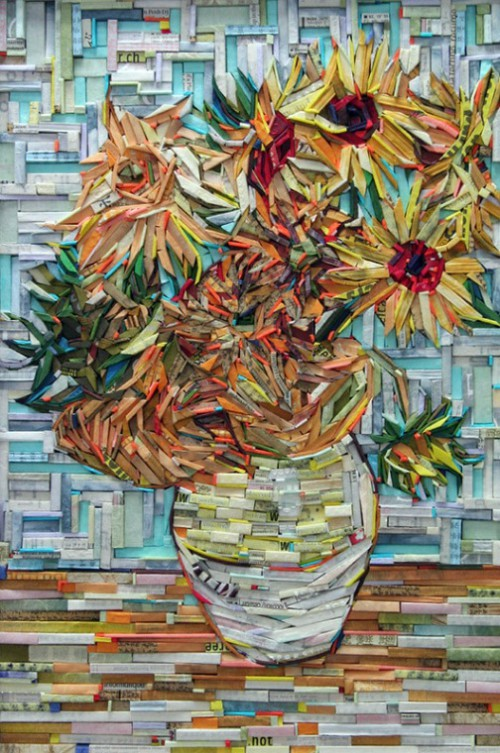"""Famous painting """"Sunflowers"""" by Vincent Van Gogh recreated in wood-wrapped Newspaper Mosaics by Korean artist Lee Kyu-Hak"""