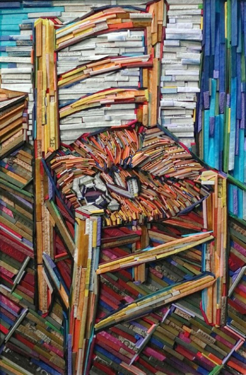 "On a well known painting ""Chair"" by Vincent Van Gogh. Recreation of famous paintings in wood-wrapped Newspaper Mosaics by Korean artist Lee Kyu-Hak"