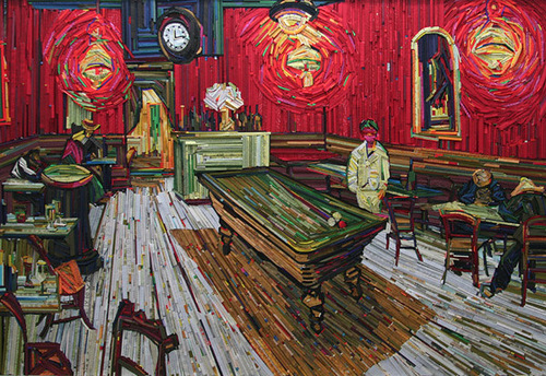 Amazingly accurate cope of Van Gogh's Night cafe. Recreation of famous paintings in wood-wrapped Newspaper Mosaics by Korean artist Lee Kyu-Hak