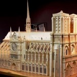 Beautiful Notre Dame Cathedral Paris. Matchstick architecture by American artist Patrick Acton
