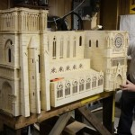 Unique work of art. Notre Dame Cathedral. Matchstick architecture by American artist Patrick Acton