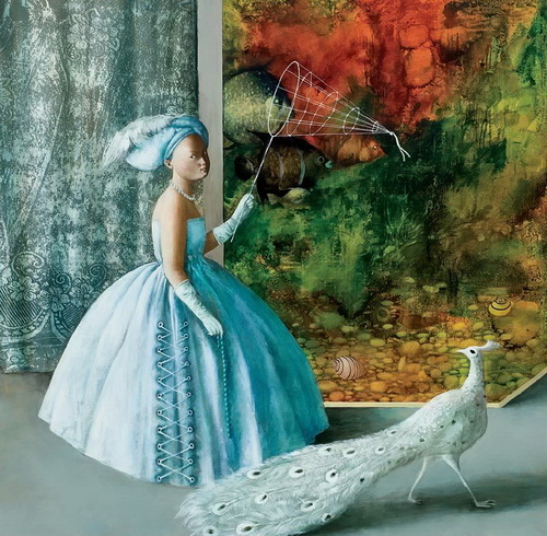 Lady in blue and White peacock. Painting by Armenian artist Vahram Davtian