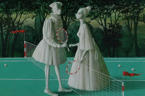 Confession at the tennis court. Painting by Armenian artist Vahram Davtian