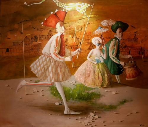 Flying a kite. Painting by Armenian artist Vahram Davtian