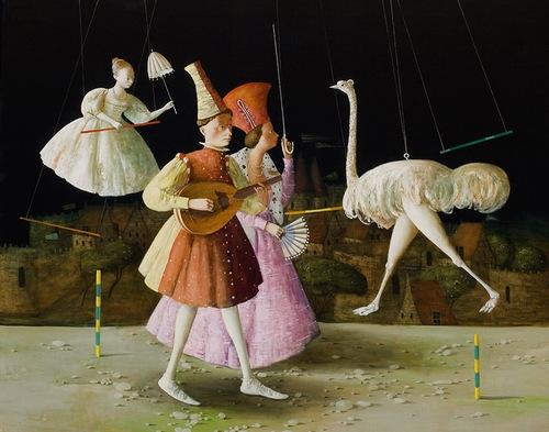 Ostrich. Painting by Armenian artist Vahram Davtian