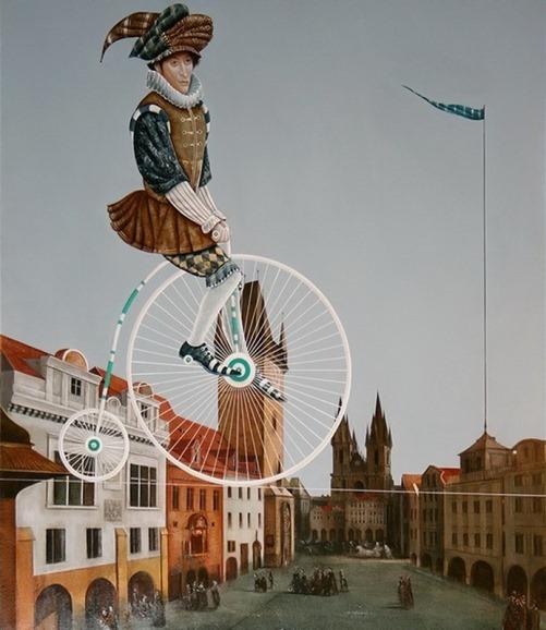 Cyclist flying over city. Painting by Armenian artist Vahram Davtian