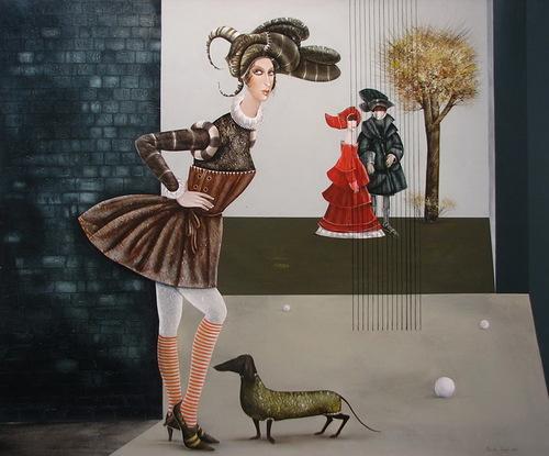 Dutch hound. Painting by Armenian artist Vahram Davtian