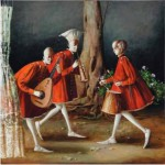 Red dresses. Medieval musicians. Painting by Armenian artist Vahram Davtian