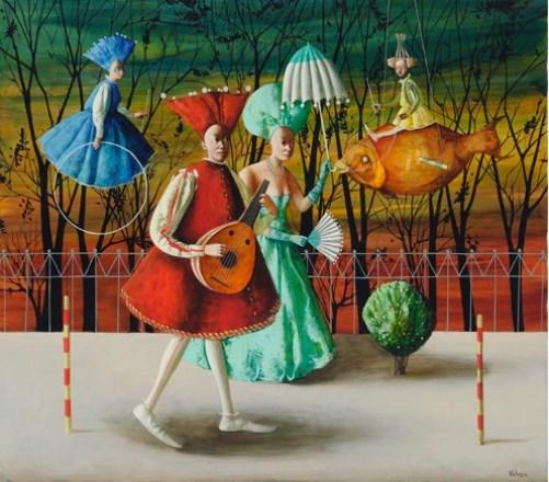 Walking and flying. Painting by Armenian artist Vahram Davtian