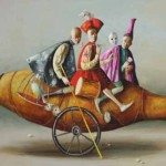 Riding on a vessel. Painting by Armenian artist Vahram Davtian
