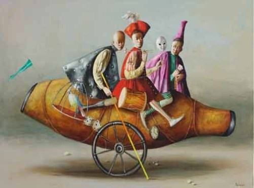 Riding on a vessel. Painting by Armenian artist Vahram Davtian