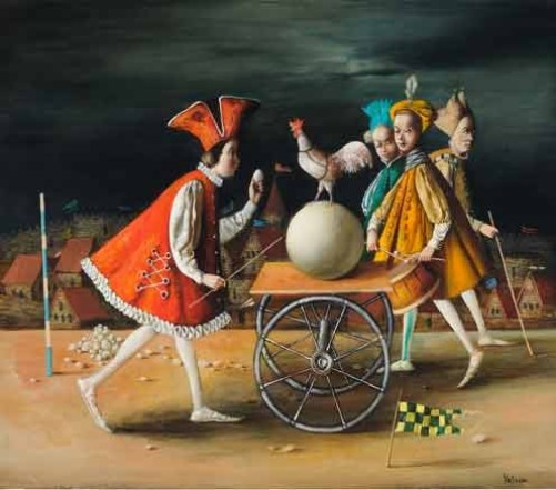 Peacock on a white ball. Painting by Armenian artist Vahram Davtian