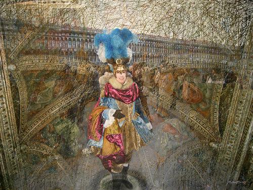 Blue feathers. A man in a fance dress