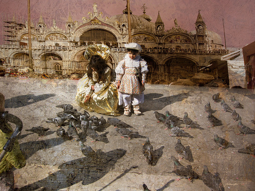 Children and doves. Painting by Russian artist Vladimir Ryabchikov