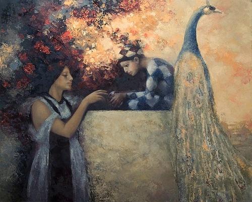 Peacock. Painting by Vladimir Ryabchikov