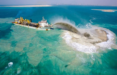 It is interesting to observe the process of construction of artificial islands. Palm Deira