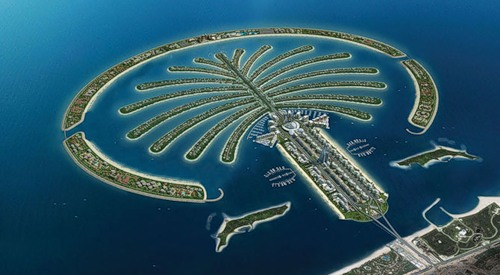 Palm islands in the UAE, the Emirate of Dubai