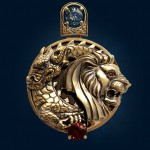 Pendant 'Dance of Lion and Dragon', made in a very complicated technique of jewelry engraving. gold, sapphires, rubies