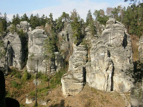 Stone pillars resemble pagan idols. Prachov Rocks – Natural Reservation in Czech Republic