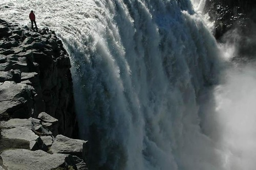 Raging waterfall - Dettifoss, 'European Niagara'. The most powerful waterfall in Iceland and Europe