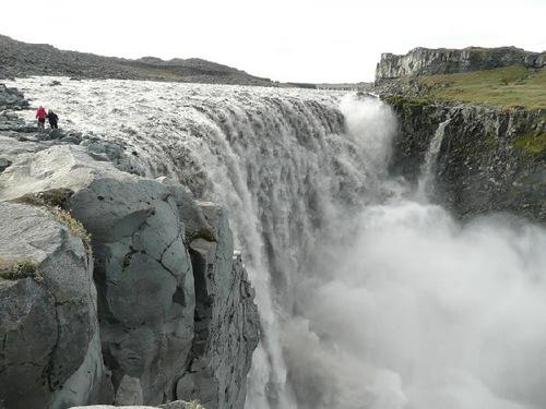Raging waterfall – Dettifoss, 'European Niagara'. The most powerful waterfall in Iceland and Europe